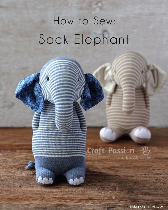 Шьем игрушки из носков - СЛОНИКИ (34) (560x700, 296Kb)