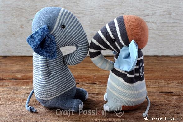 Шьем игрушки из носков - СЛОНИКИ (36) (588x392, 205Kb)