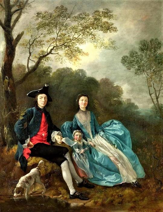 Томас Гейнсборо    Автопортрет с женой Маргарет и старшей дочерью Мэри    1751 (540x700, 144Kb)