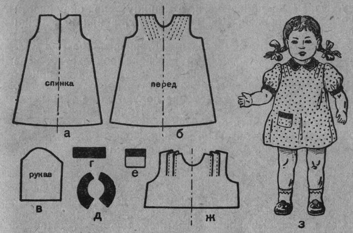Как сшить платье для куклы с выкройкой 44
