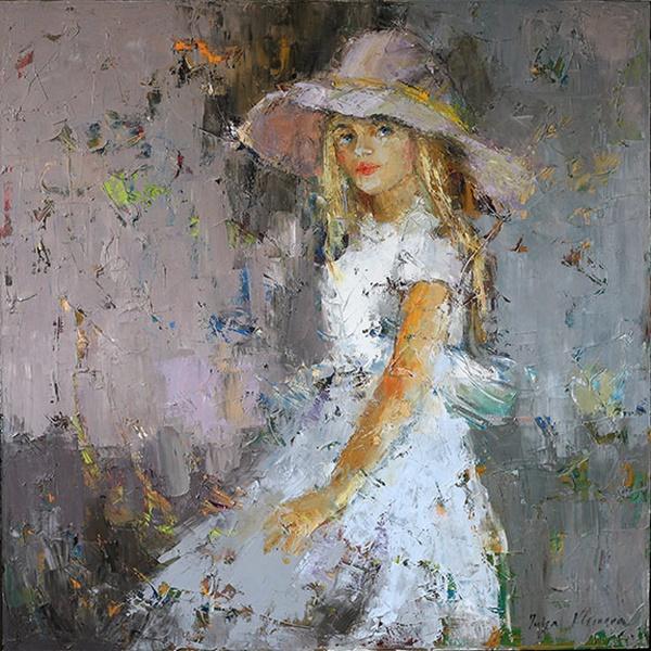 Девушка в лиловой шляпе (600x600, 450Kb)