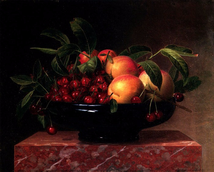 William Hammer  Peaches and cherries in a bowl on a marble ledge.864 (699x564, 362Kb)
