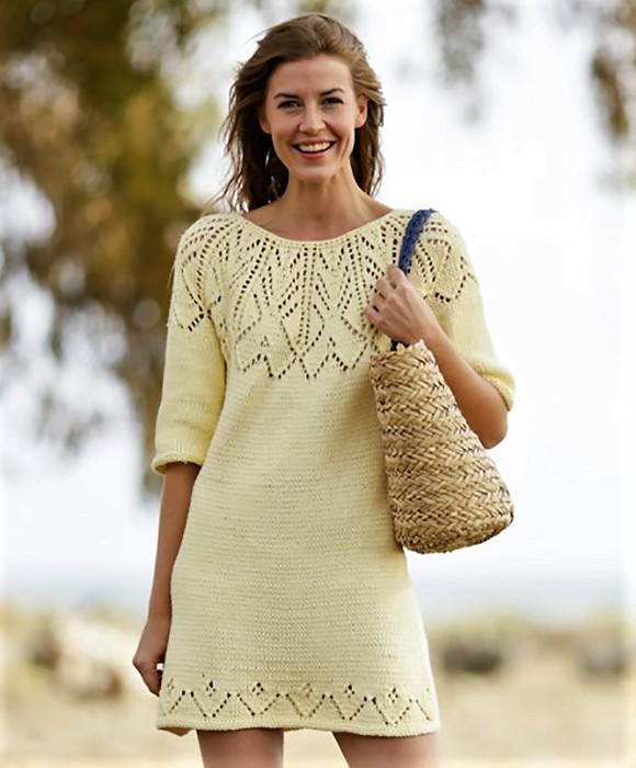 Платье спицами подробное описание