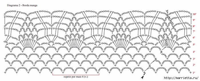 Укороченная блуза крючком из круглых мотивов (6) (700x283, 176Kb)