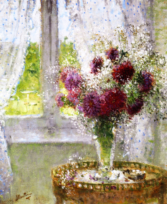 Vase of Flowers by the Window (571x700, 617Kb)