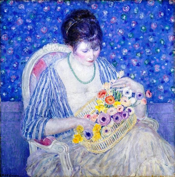 Фредерик Фрисеке «Корзинка с цветами» 1913-17 (689x700, 689Kb)