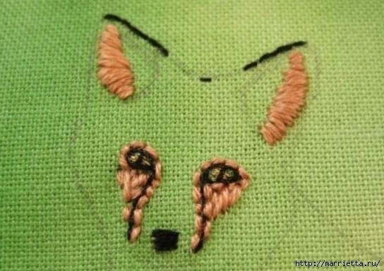 Панно с лисичкой. Вышиваем гладью (10) (544x384, 140Kb)