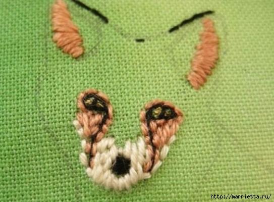 Панно с лисичкой. Вышиваем гладью (12) (543x400, 142Kb)