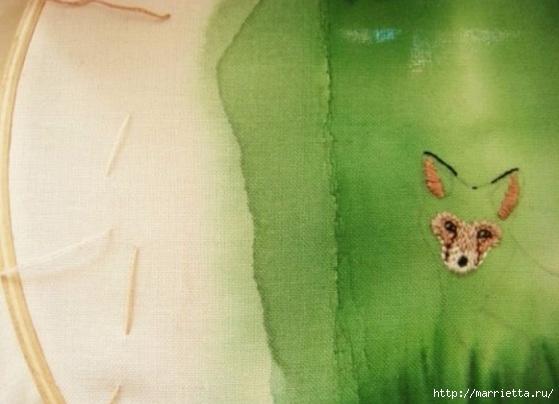 Панно с лисичкой. Вышиваем гладью (14) (559x404, 118Kb)