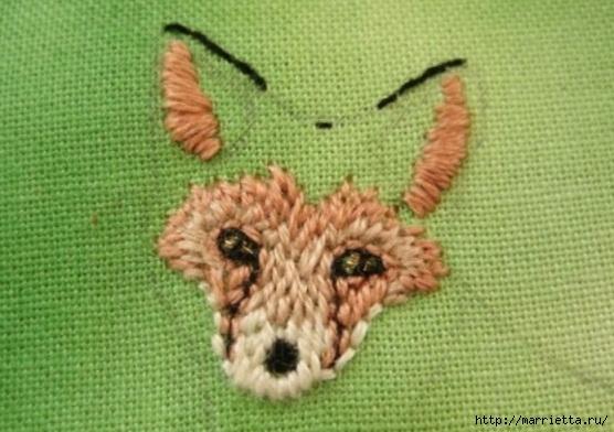 Панно с лисичкой. Вышиваем гладью (16) (556x392, 147Kb)