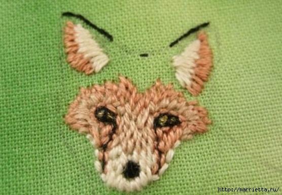 Панно с лисичкой. Вышиваем гладью (18) (556x384, 141Kb)
