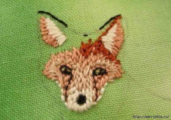 Панно с лисичкой. Вышиваем гладью (20) (559x394, 150Kb)