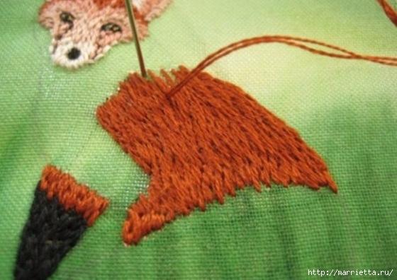 Панно с лисичкой. Вышиваем гладью (26) (560x396, 142Kb)