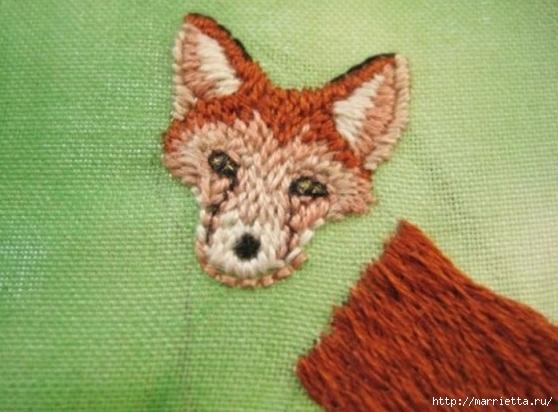 Панно с лисичкой. Вышиваем гладью (28) (558x412, 147Kb)