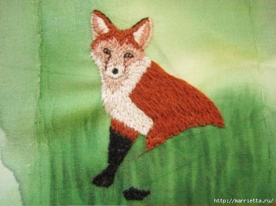 Панно с лисичкой. Вышиваем гладью (30) (560x419, 145Kb)