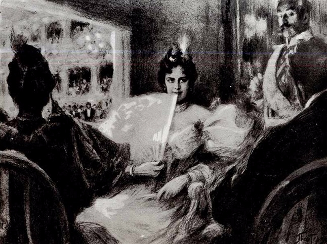 В ложе. Иллюстрация к роману Л. Н. Толстого Воскресение. 1898--1899 (646x483, 323Kb)