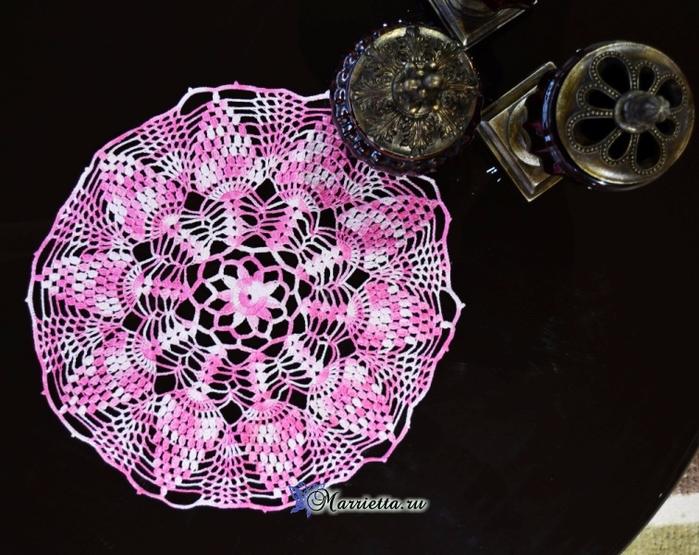 Крючком. Салфетка из розовой меланжевой пряжи (1) (700x555, 388Kb)