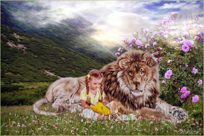 девочка и лев (700x466, 451Kb)