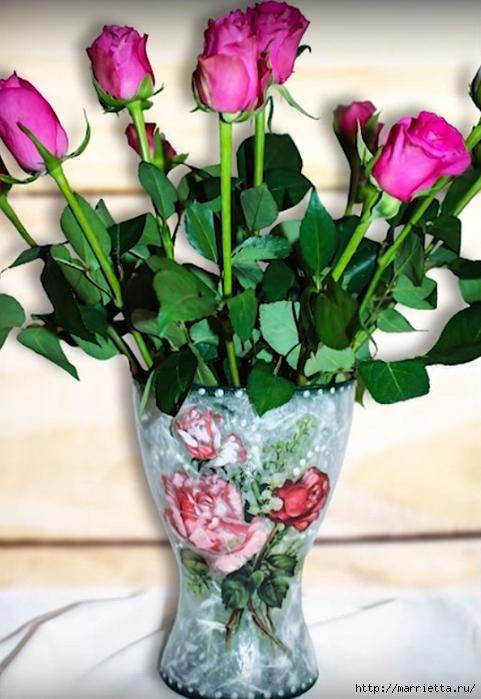 Декупаж стеклянной вазы для цветов. Видео мастер-класс (1) (481x700, 240Kb)