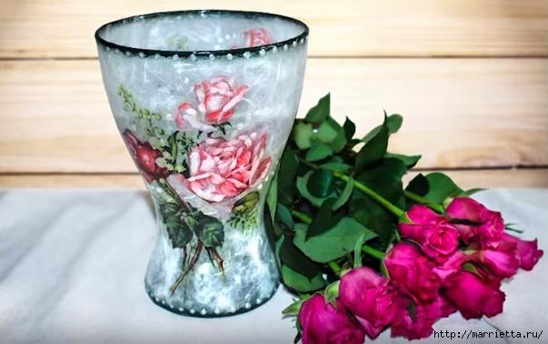 Декупаж стеклянной вазы для цветов. Видео мастер-класс (3) (603x378, 140Kb)