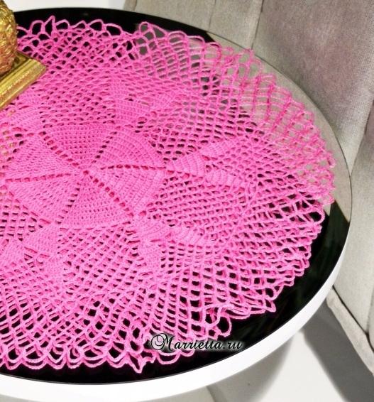 Розовая салфетка крючком для круглого столика (1) (527x566, 426Kb)