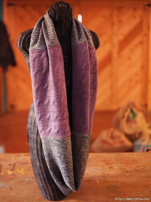 Переделка одежды. Снуд-шарф из старого свитера (2) (525x700, 285Kb)