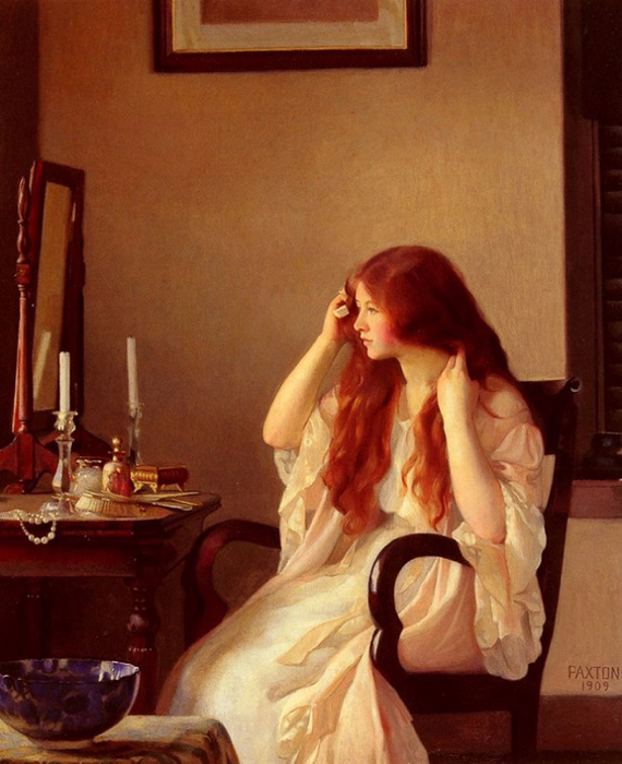 Girl combing her hair or Young girl with a mirror, 1909, (570x700, 386Kb)