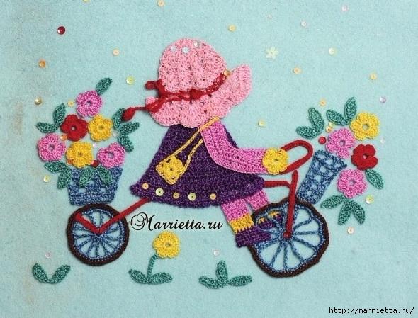 Детская аппликация крючком «Девочка на велосипеде» (1) (590x449, 238Kb)