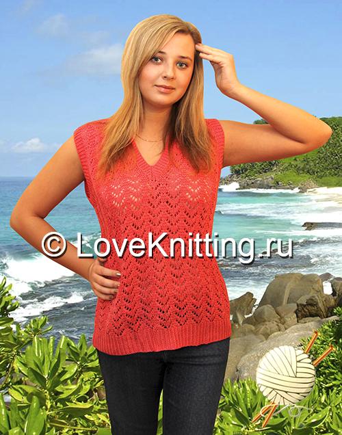 01 Автор Ажур пуловер МТ2 (500x636, 385Kb)