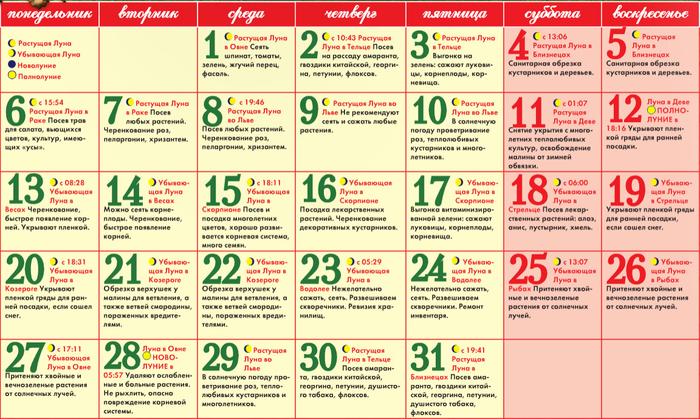 Благоприятные дни февраль март 2917