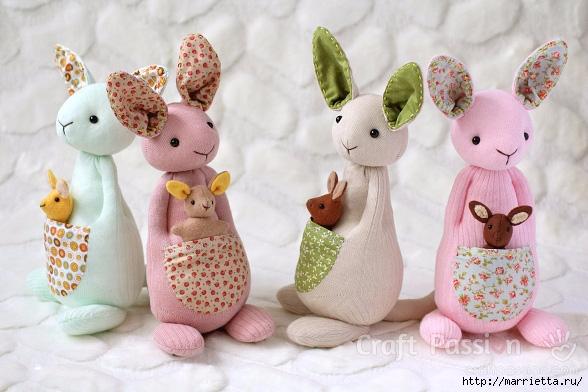 КЕНГУРУ с кенгуренком - изумительные игрушки из носков и фетра (39) (588x392, 176Kb)