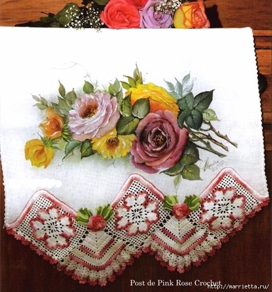 Кружевная цветочная обвязка полотенца (1) (530x570, 242Kb)