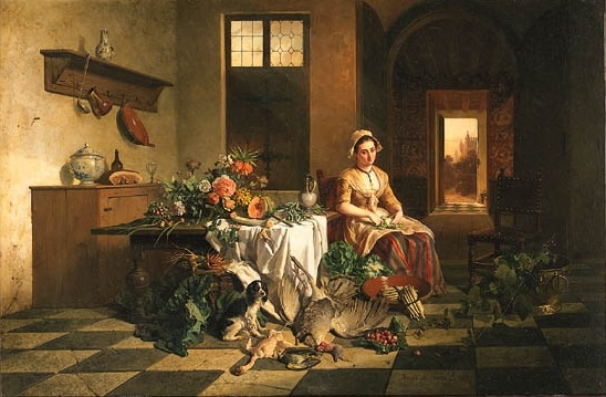 A maid seated in a kitchen by a table with flowers, with vegetables and dead fowl in the foreground, 1852 (548x359, 82Kb)