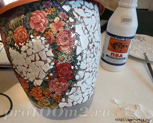 Мозаика из яичной скорлупы. Цветочный горшок (3) (510x410, 143Kb)