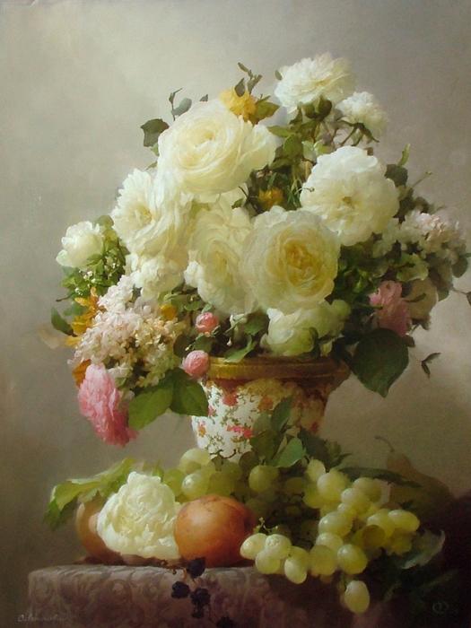 Белые розы. Холст, масло 80-60см 15-12-2009г. Частная коллекция. (525x700, 400Kb)