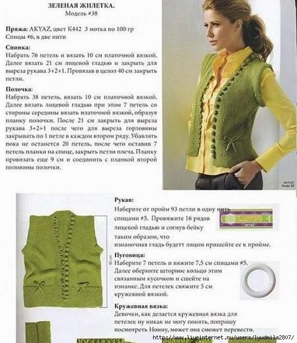 Вязание безрукавки для женщины спицами со схемой