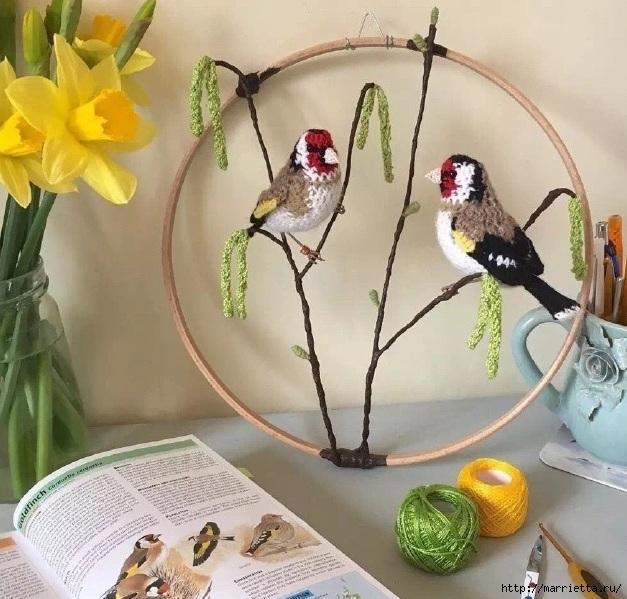Птичий двор Jose Heroys. Вязаные птички, необыкновенной красоты (16) (627x599, 249Kb)