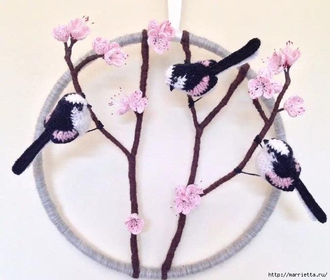 Птичий двор Jose Heroys. Вязаные птички, необыкновенной красоты (22) (673x571, 188Kb)
