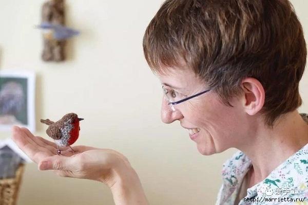 Птичий двор Jose Heroys. Вязаные птички, необыкновенной красоты (30) (600x401, 123Kb)