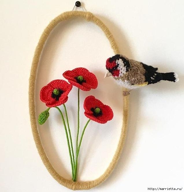 Птичий двор Jose Heroys. Вязаные птички, необыкновенной красоты (56) (637x662, 185Kb)