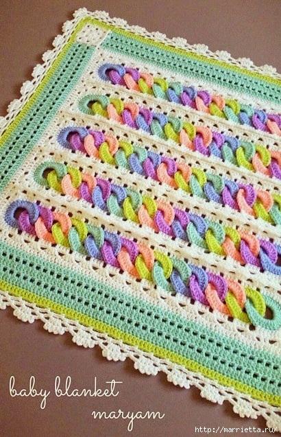 Детский плед крючком с узором из разноцветных колечек (10) (410x637, 290Kb)