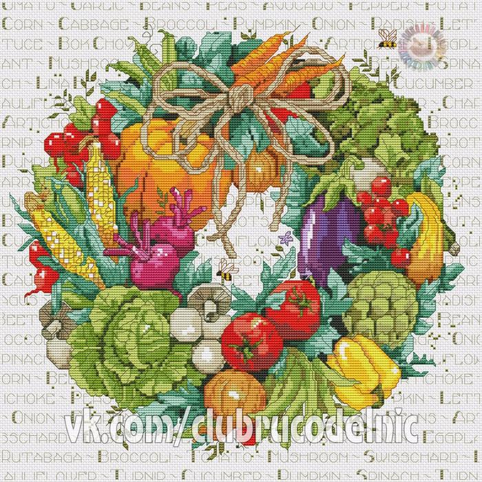 вышивка Овощной венок (700x700, 775Kb)
