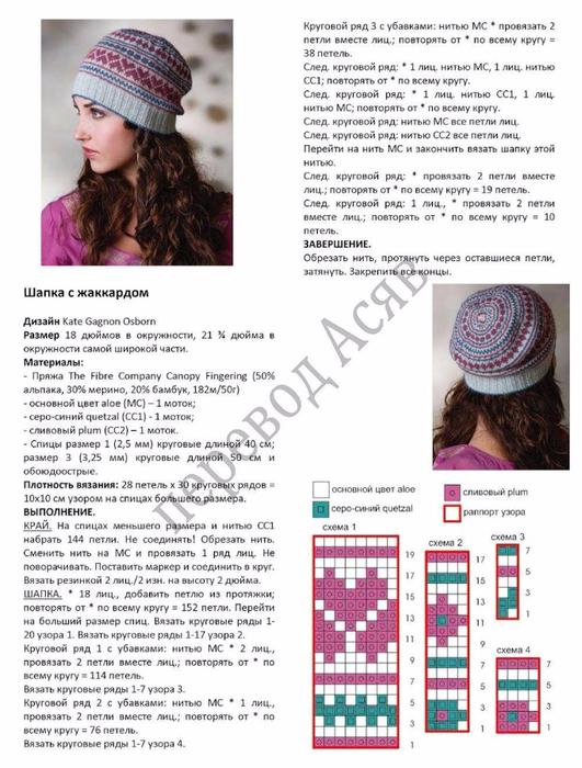 Вязание зимней шапки с узорами 71
