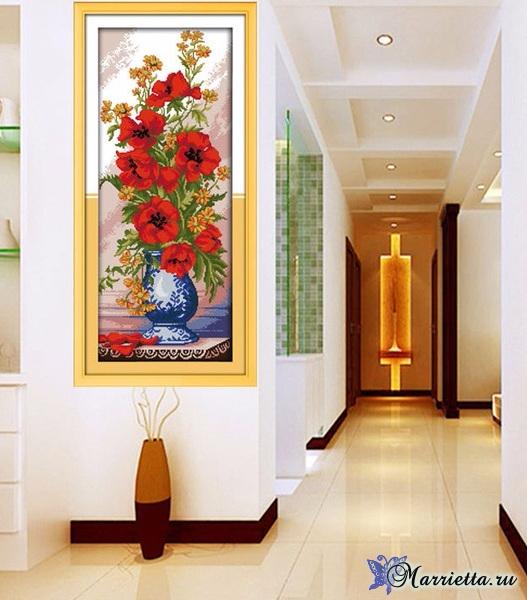 Маки в китайской вазе. Схема вышивки крестом (6) (527x600, 289Kb)