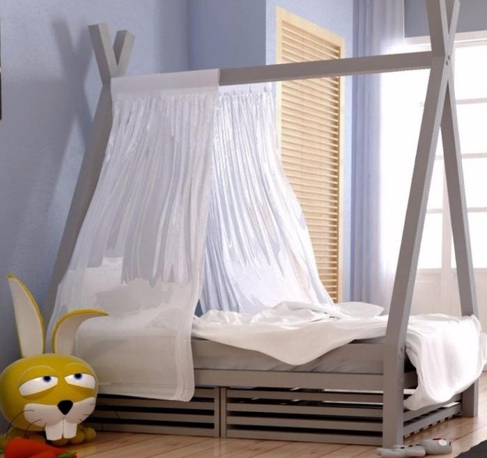 кровать вигвам  деревянная односпальная кровать с перекладиной для шторки купить недорого в москве цена от производителя (700x657, 333Kb)