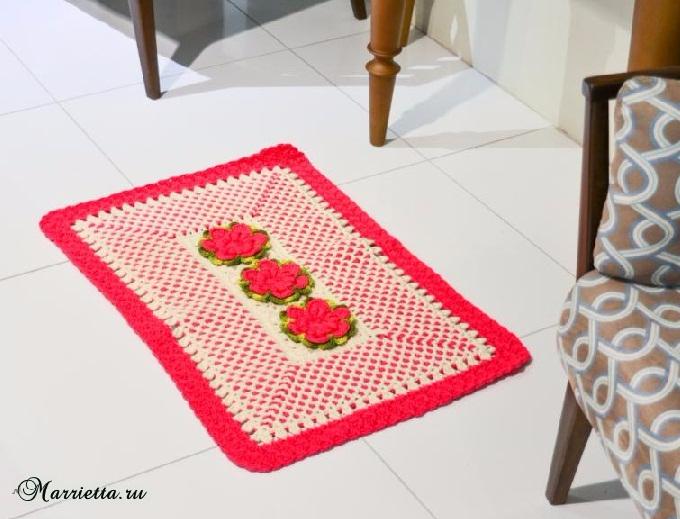 Прямоугольный цветочный коврик крючком. Схема (1) (680x519, 299Kb)