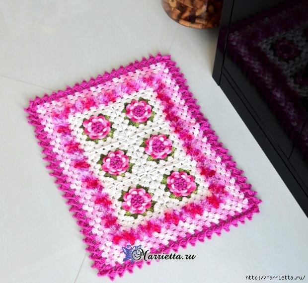 Нежный коврик крючком с цветами. Схема вязания (2) (620x570, 257Kb)