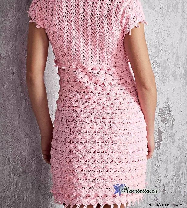 Нежное розовое летнее платье крючком (1) (616x686, 440Kb)