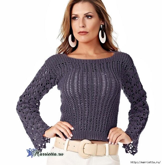 Блуза спицами с ажурными рукавами. Схема (1) (649x660, 284Kb)