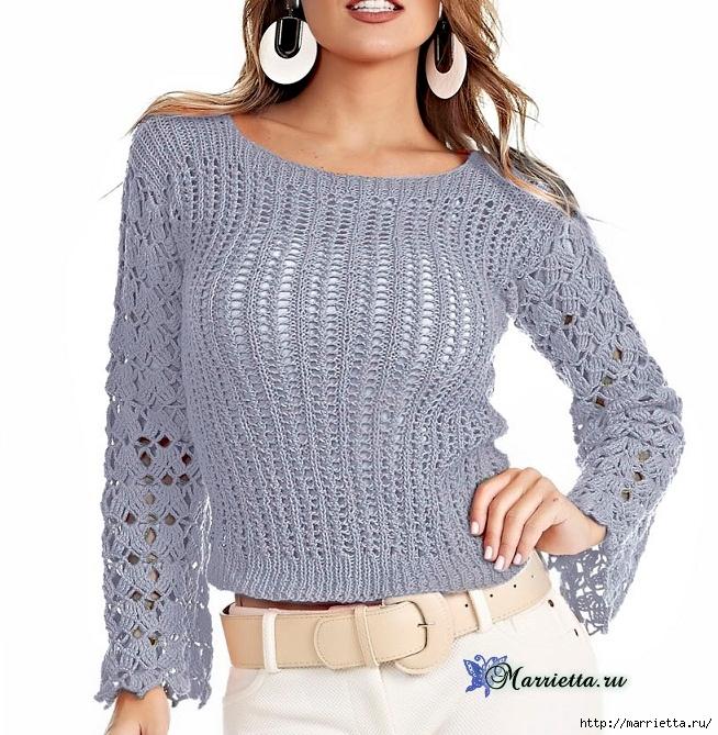 Блуза спицами с ажурными рукавами. Схема (3) (654x669, 329Kb)